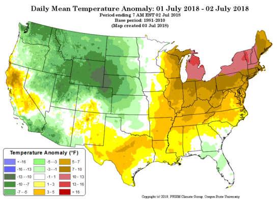 anomalies de température pour les 1er et 2 juillet 2018