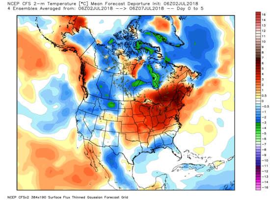 Ecart température USA