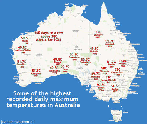 Australie : vagues de chaleur passées