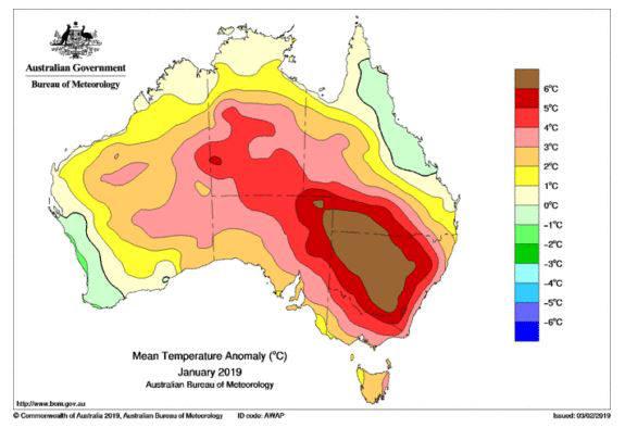 Australie : anomalies de températures de janvier 2019