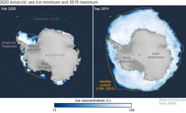 Antarctic min/max sea ice maps, 2019-2020