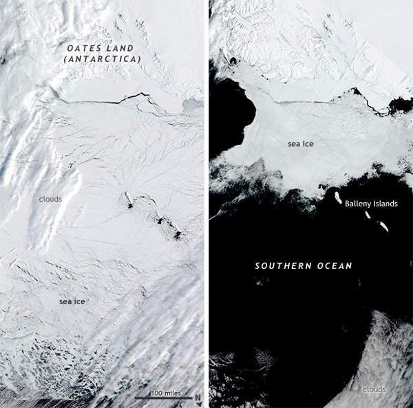 A pair of satellite images of the sea ice off Oates Coast of Antarctica in October 2018 and January 2019
